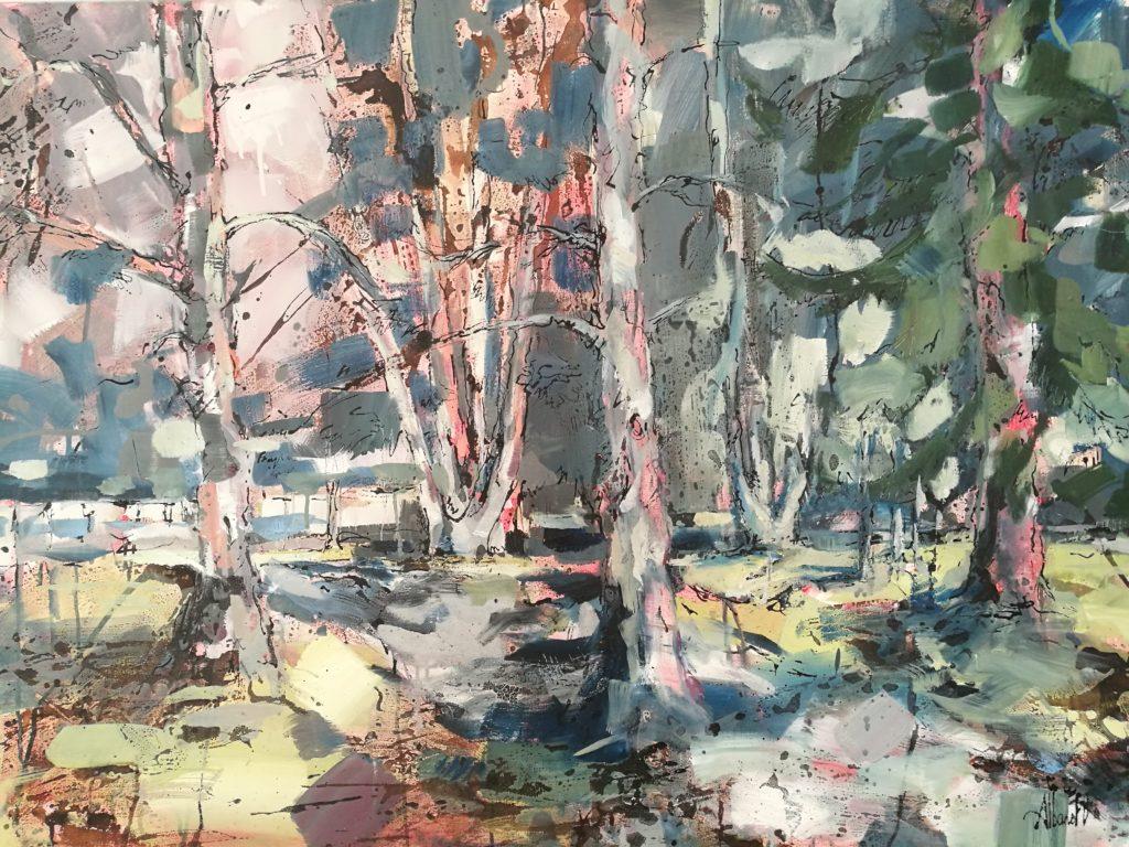 Paysage Arbres -Albane Paillard Brunet -Huile sur toile - Artiste peintre - Grenoble Isère