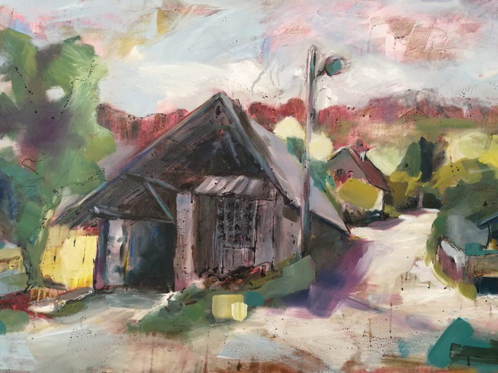 Grange Arbres -Albane Paillard Brunet -Huile sur toile - Artiste peintre - Grenoble Isère