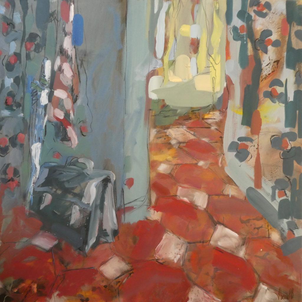 cartable dans l'entrée aux tommettes ancienne par l'artiste peintre plasticienne Albane Paillard-Brunet