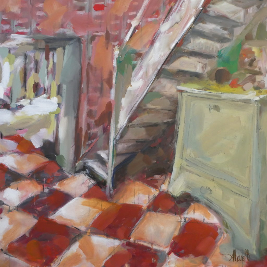 seuil, interieur maison de campagne, peinture par l'artiste  grenoloise Albane Paillard-Brunet