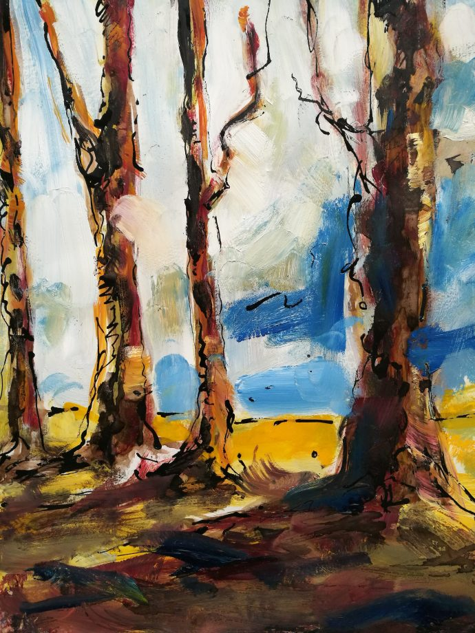 forêts, sous les arbres, peints par Albane Paillard-Brunet, artiste peintre grenobloise