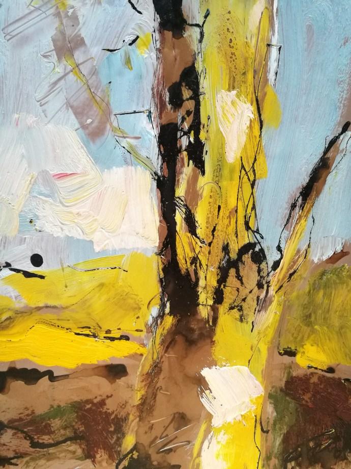 tronc d'arbre, écorce, sous les arbres par l'artiste peintre plasticienne grenobloise Albane Paillard-Brunet