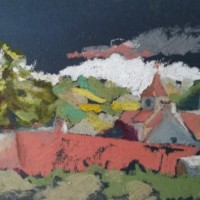eglise-russilly-pastels-a-huile