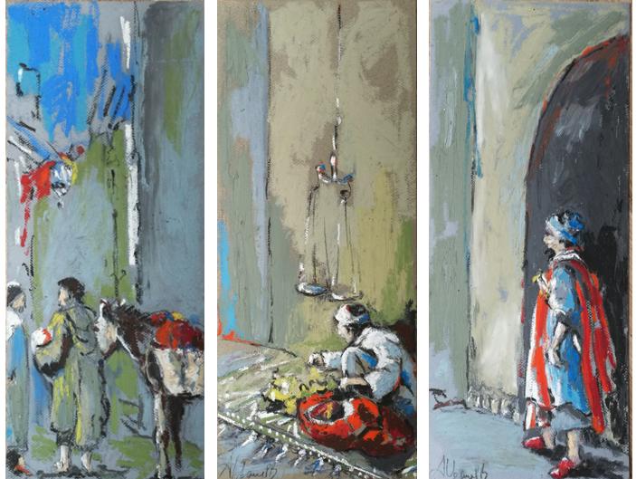 pastels à l'huile, paysage de Marrackech, croquis sur le vif pris au Maroc et peint par Albane Paillard-Brunet, artiste peintre grenobloise