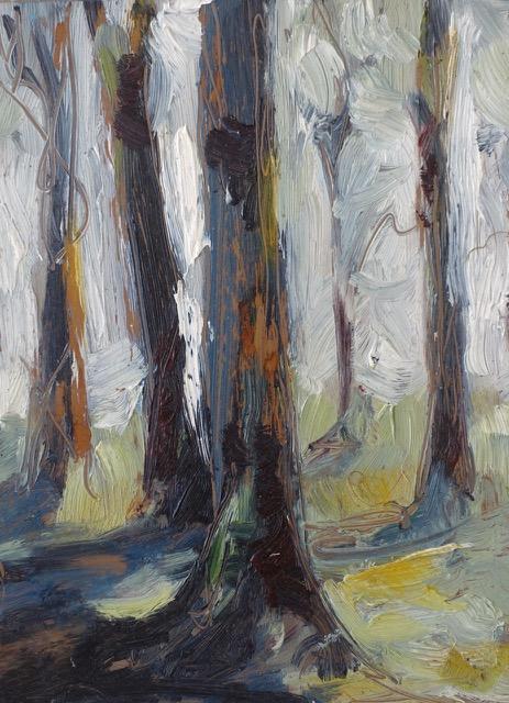 foret huile sur papier argentique marouflé sur pavé du bois du nord par Albane Paillard-Brunet, artiste peintre plasticienne grenobloise