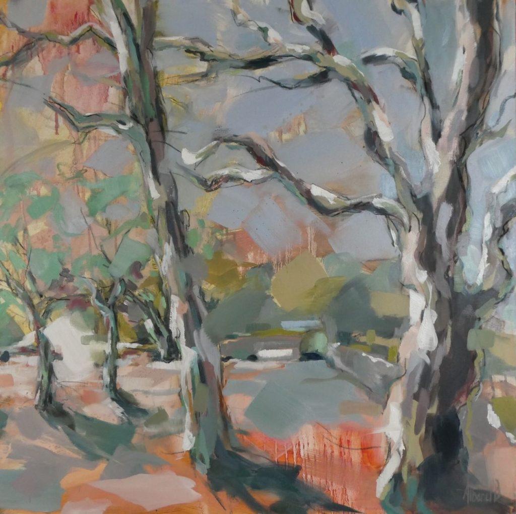 Arbres à Russilly, peint par Albane Paillard-Brunet, Artiste peintre plasticienne grenobloise