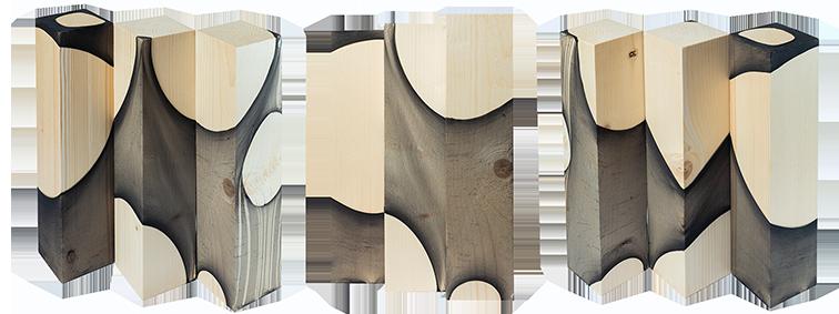 """Les """"Forêts"""" d'Albane Paillard-Brunet, artiste et plasticienne grenobloise, bas de nylon sur pavés de bois"""