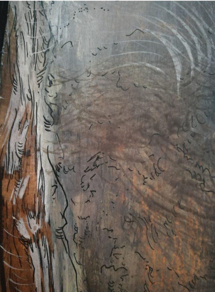 détail détrempe à l'oeuf par l'artiste Albane Pailladr-Brunet