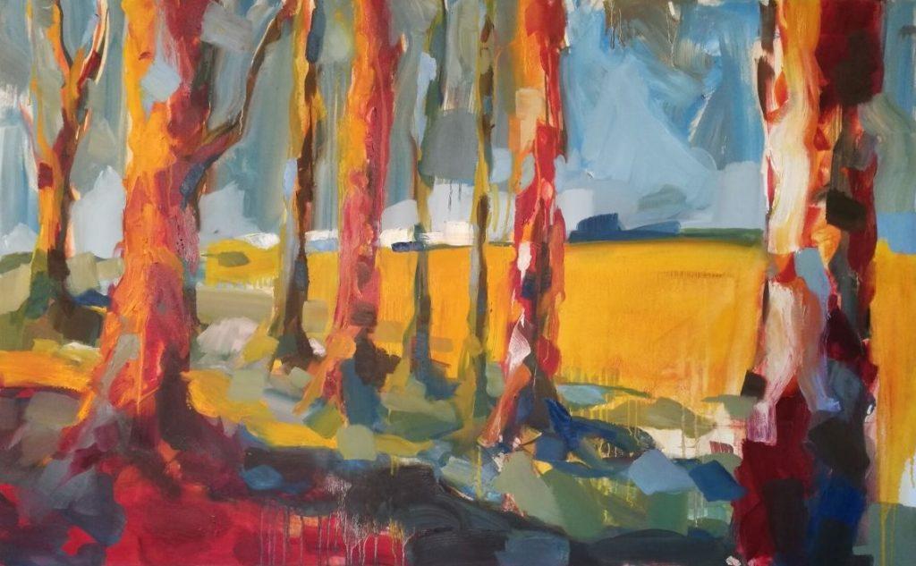 Paysage de foret tout en lumière peint par Albane Paillard-Brunet, artiste peintre grenobloise, en peinture à l'huile sur toile