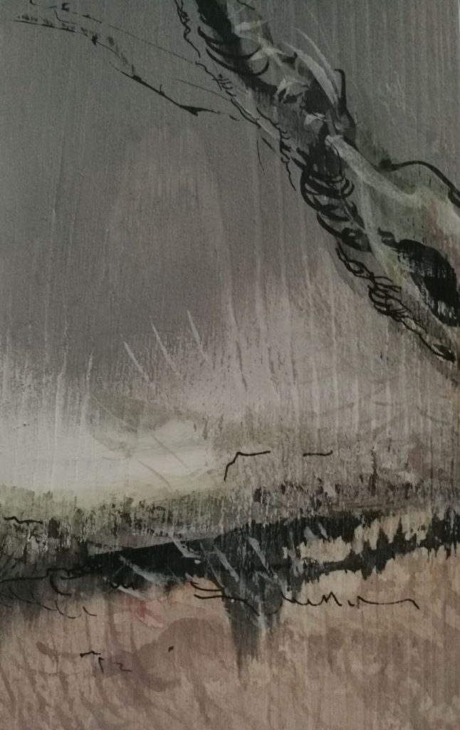 """quelques détails des """"Forêts"""", encre et détrempe à l'oeuf sur bois du nord"""