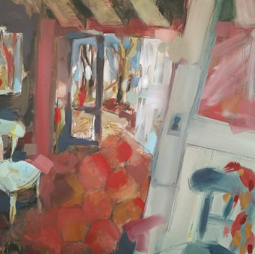 Albane Paillard-Brunet artsite peintre propose un intérieur de maison ancienne aux tommettes ocres rouges