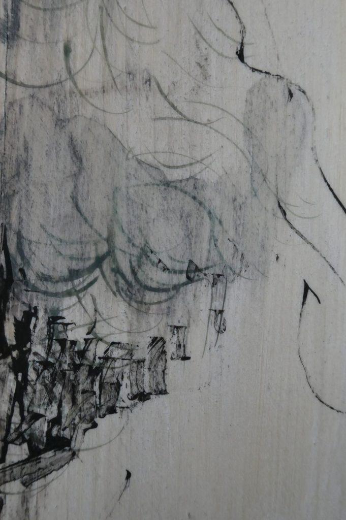 """détail """"Forêts"""" à la détrempe à l'oeuf sur bois du nord, peint par Albane Paillard-Brunet artsite peintre plasticienne"""