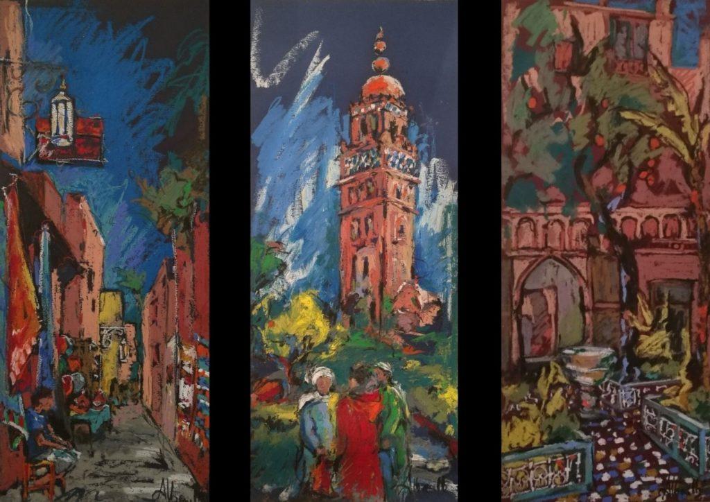 pastels à l'huile par Albane Paillard-Brunet artsite peintre plasticienne à grenoble peint des tableau, carnet de voyage, de Marrakech, au Maroc